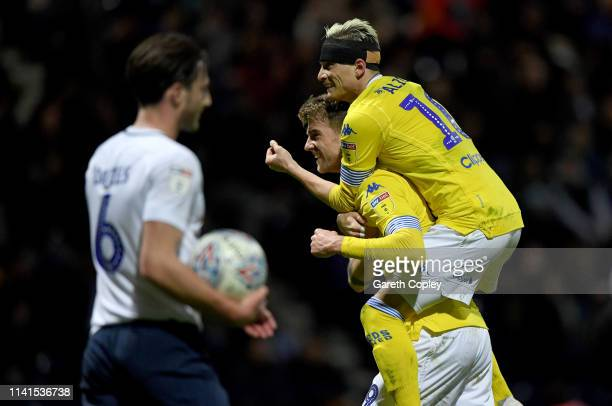 Patrick Bamford of Leeds United is congratulated by Ezgjan Alioski of Leeds United after he scores his second goal during the Sky Bet Championship...