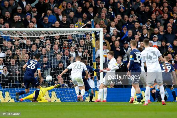 Patrick Bamford of Leeds United scores during the Sky Bet Championship match between Leeds United and Huddersfield Town at Elland Road on March 07...