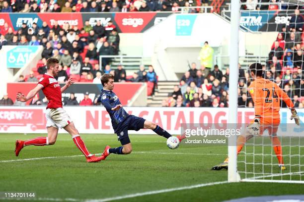 Patrick Bamford of Leeds United scores his sides first goal during the Sky Bet Championship between Bristol City and Leeds United at Ashton Gate on...