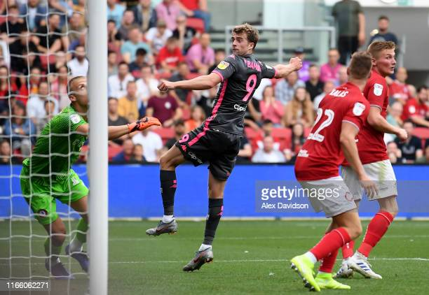 Patrick Bamford of Leeds United scores his sides second goal during the Sky Bet Championship match between Bristol City and Leeds United at Ashton...