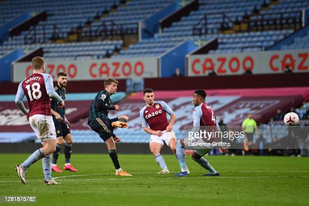 Patrick Bamford of Leeds United scores his team's second goal during the Premier League match between Aston Villa and Leeds United at Villa Park on...
