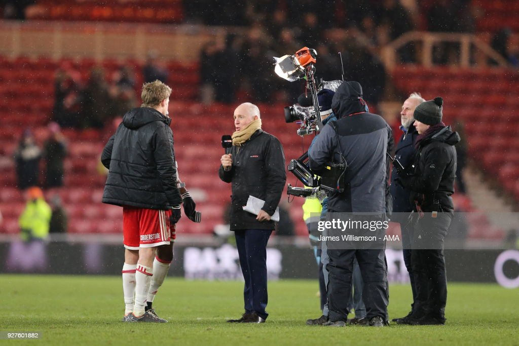 Patrick Bamford of Middlesbrough being interviewed by Sky Sports television during the Sky Bet Championship match between Middlesbrough and Leeds United at Riverside Stadium on March 2, 2018 in Middlesbrough, England.