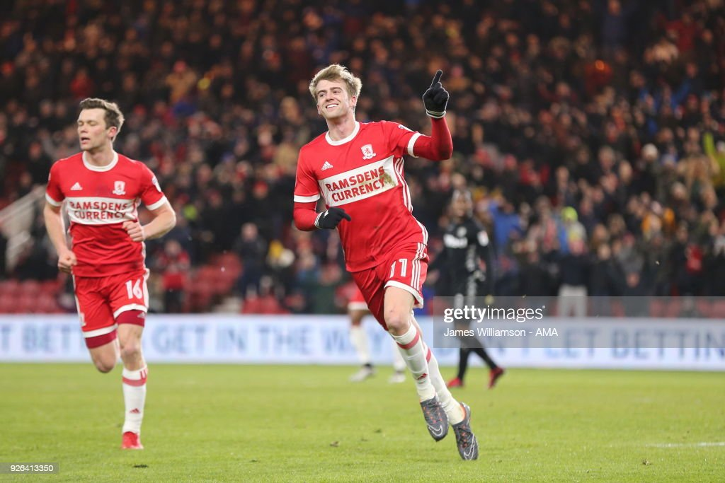 Patrick Bamford of Middlesbrough celebrates after scoring a goal to make it 1-0 during the Sky Bet Championship match between Middlesbrough and Leeds United at Riverside Stadium on March 2, 2018 in Middlesbrough, England.