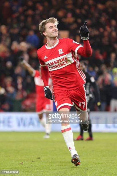 Patrick Bamford of Middlesbrough celebrates after scoring a goal to make it 10 during the Sky Bet Championship match between Middlesbrough and Leeds...