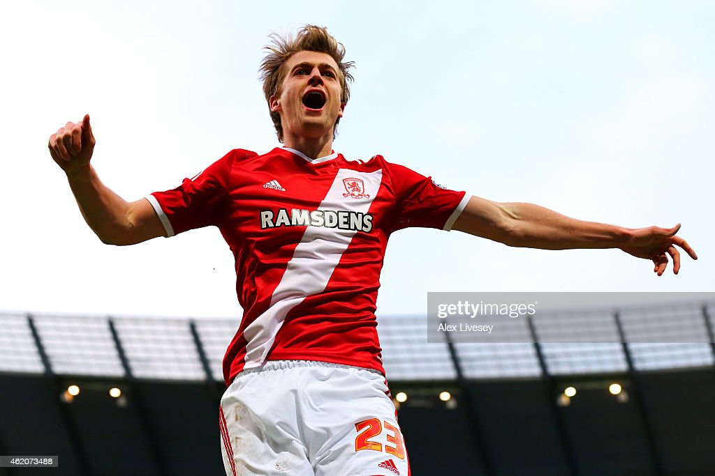 Patrick Bamford of Middlesbrough celebrates after scoring the opening goal during the FA Cup Fourth Round match between Manchester City and Middlesbrough at Etihad Stadium on January 24, 2015 in Manchester, England.
