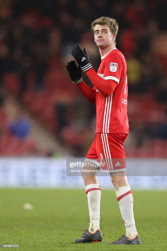 Patrick Bamford of Middlesbrough during the Sky Bet Championship match between Middlesbrough and Leeds United at Riverside Stadium on March 2, 2018 in Middlesbrough, England.