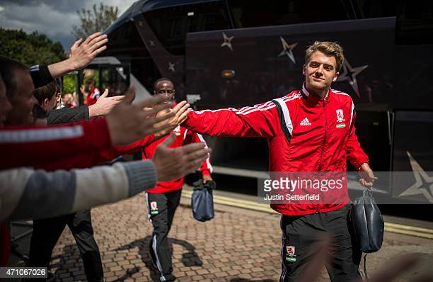 Patrick Bamford of Middlesbrough FC arrives ahead of the Sky Bet Championship match between Fulham and Middlesbrough at Craven Cottage on April 25...