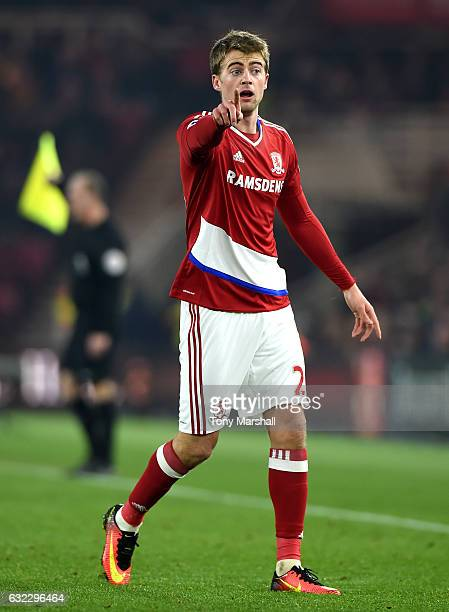 Patrick Bamford of Middlesbrough in action during the Premier League match between Middlesbrough and West Ham United at the Riverside Stadium on...