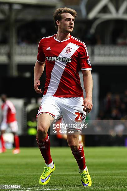 Patrick Bamford of Middlesbrough in action during the Sky Bet Championship match between Fulham and Middlesbrough at Craven Cottage on April 25 2015...
