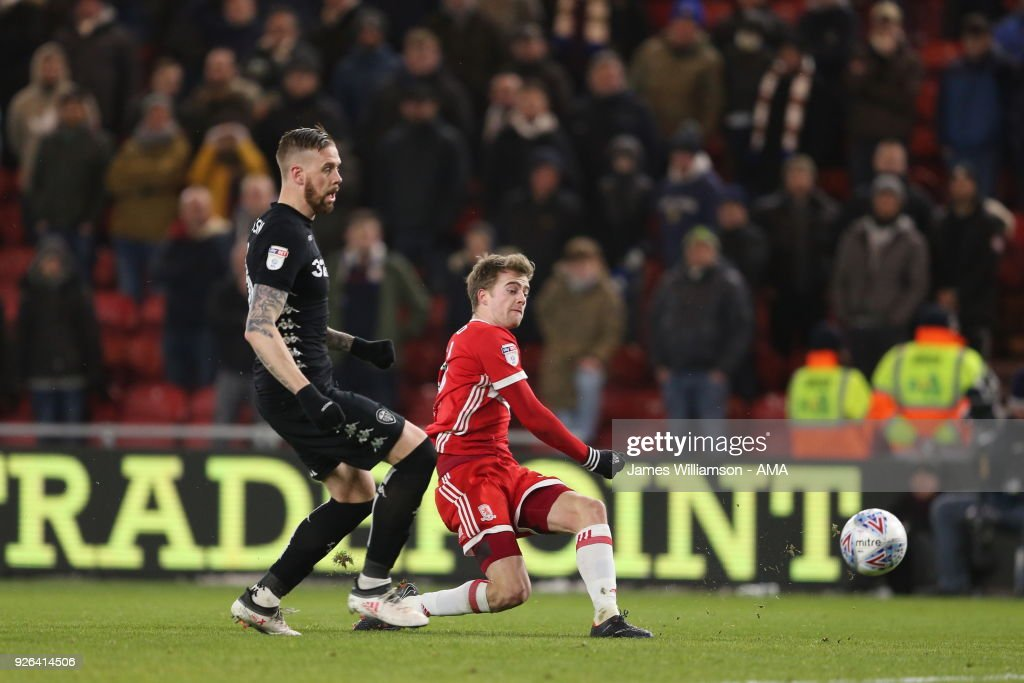 Patrick Bamford of Middlesbrough scores a goal to make it 2-0 during the Sky Bet Championship match between Middlesbrough and Leeds United at Riverside Stadium on March 2, 2018 in Middlesbrough, England.