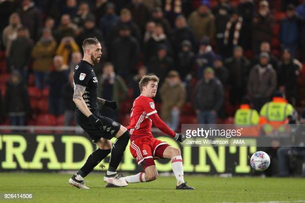 Patrick Bamford of Middlesbrough scores a goal to make it 20 during the Sky Bet Championship match between Middlesbrough and Leeds United at...