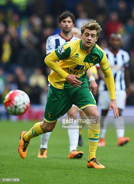 Patrick Bamford of Norwich City in action during the Barclays Premier League match between West Bromwich Albion and Norwich City at The Hawthorns on...