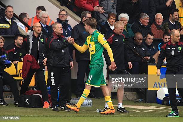 Patrick Bamford of Norwich City leaves the field after being substituted during the Barclays Premier League match between Norwich City and Manchester...