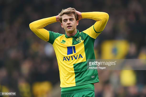 Patrick Bamford of Norwich City reacts after his shot hitting a bar during the Barclays Premier League match between Norwich City and Manchester City...