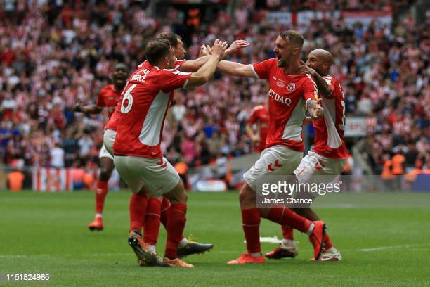 Patrick Bauer of Charlton Athletic celebrates with team mates after scoring his team's second goal during the Sky Bet League One Playoff Final match...