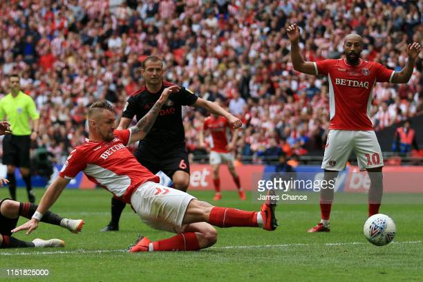 Patrick Bauer of Charlton Athletic scores his team's second goal during the Sky Bet League One Playoff Final match between Charlton Athletic and...