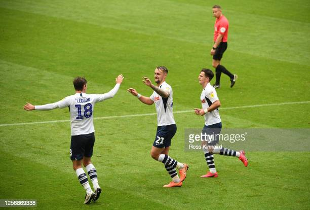 Patrick Bauer of Preston North End celebrates after scoring his sides 1st goal during the Sky Bet Championship match between Preston North End and...