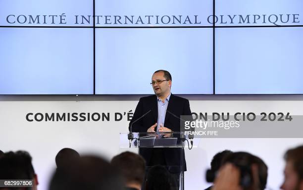 Patrick Baumann, president of the IOC Evaluation Commission for the 2024 Olympic Games gives a press conference after a first day of Evaluation...