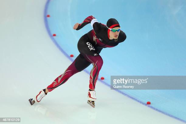 Patrick Beckert of Germany competes during the Men's 5000m Speed Skating event during day 1 of the Sochi 2014 Winter Olympics at Adler Arena Skating...