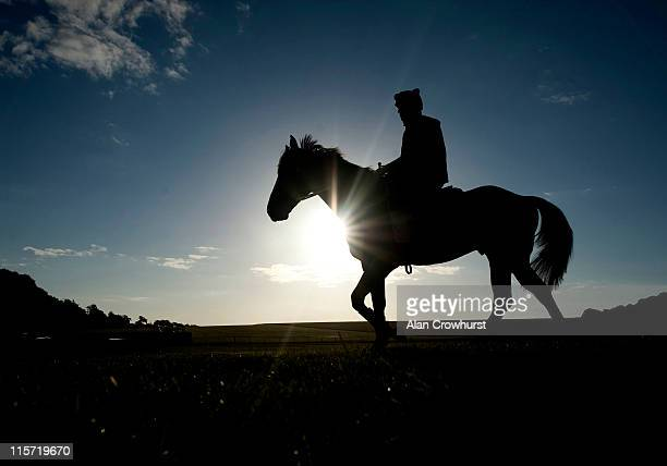 Patrick Bell riding Hinchinbrook on Bury Hill gallops prior to racing at Royal Ascot on June 09 2011 in Newmarket England