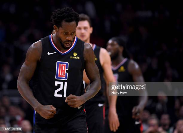 Patrick Beverley of the LA Clippers celebrates a Clipper lead after a timeout during a 121-112 win over the Dallas Mavericks at Staples Center on...