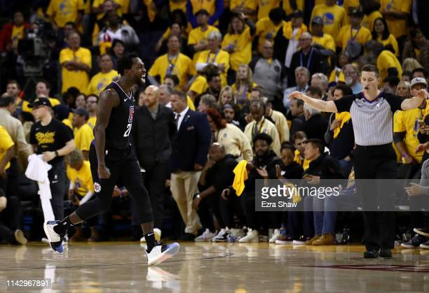 Patrick Beverley of the LA Clippers celebrates after they beat the Golden State Warriors during Game Two of the first round of the 2019 NBA Western...