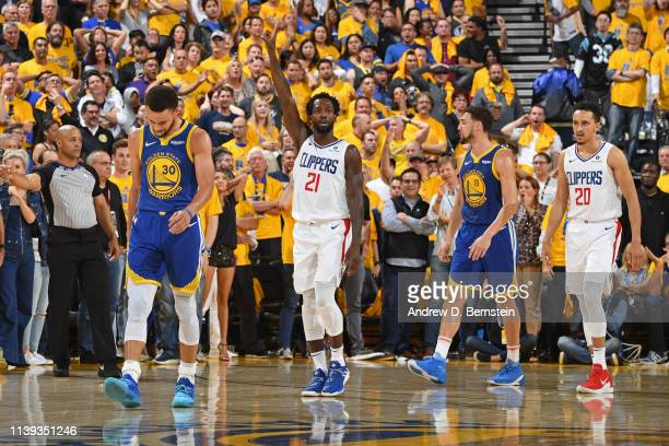 Patrick Beverley of the LA Clippers celebrates during the game against the Golden State Warriors during Game Five of Round One of the 2019 NBA...