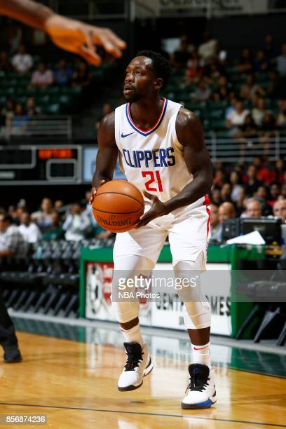 Patrick Beverley of the LA Clippers during the preseason game against the Toronto Raptors on October 1 2017 at the Stan Sheriff Center in Honolulu HI...