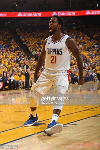 Patrick Beverley of the LA Clippers gets hyped during the game against the Golden State Warriors during Game Five of Round One of the 2019 NBA...