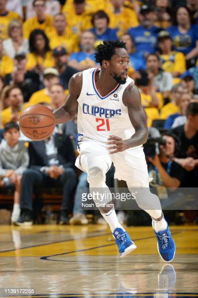 Patrick Beverley of the LA Clippers handles the ball against the Golden State Warriors during Game Five of Round One of the 2019 NBA Playoffs on...