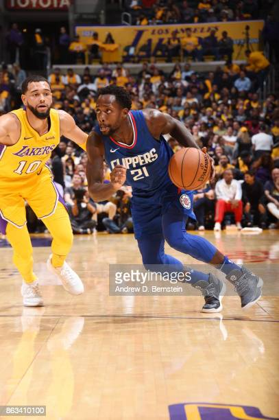 Patrick Beverley of the LA Clippers handles the ball against the Los Angeles Lakers during the game on October 19 2017 at STAPLES Center in Los...