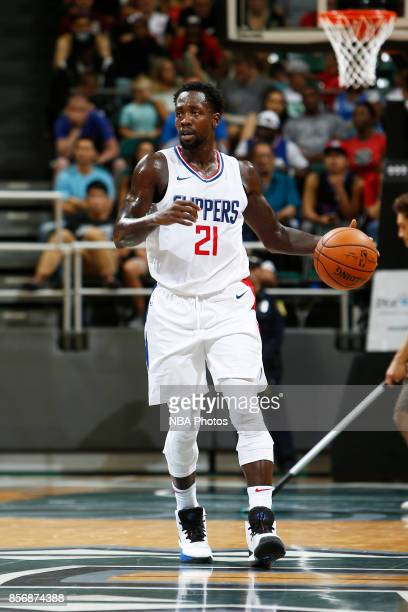 Patrick Beverley of the LA Clippers handles the ball during the preseason game against the Toronto Raptors on October 1 2017 at the Stan Sheriff...