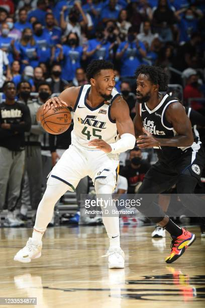 Patrick Beverley of the LA Clippers plays defense on Donovan Mitchell of the Utah Jazz during Round 2, Game 6 of the 2021 NBA Playoffs on June 18,...