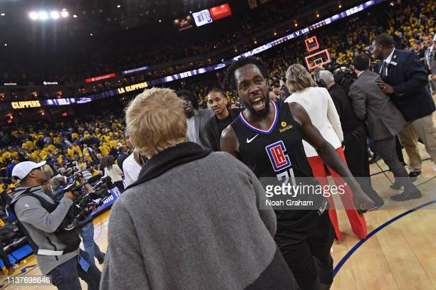 Patrick Beverley of the LA Clippers reacts during Game Two of Round One of the 2019 NBA Playoffs against the Golden State Warriors on April 15 2019...