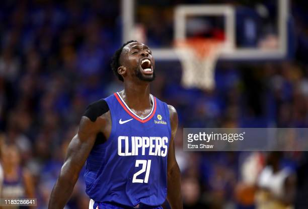 Patrick Beverley of the LA Clippers reacts during their game against the Golden State Warriors at Chase Center on October 24, 2019 in San Francisco,...