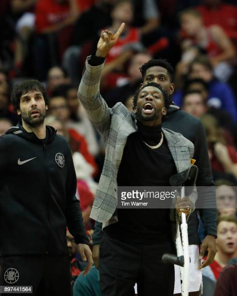 Patrick Beverley of the LA Clippers reacts on the bench in the second half against the Houston Rockets at Toyota Center on December 22 2017 in...
