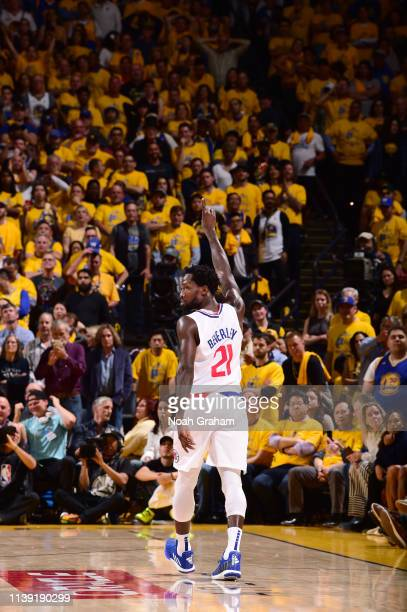 Patrick Beverley of the LA Clippers reacts to a play against the Golden State Warriors during Game Five of Round One of the 2019 NBA Playoffs on...