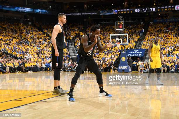 Patrick Beverley of the LA Clippers reacts to a play in Game Two of Round One against the Golden State Warriors during the 2019 NBA Playoffs on April...