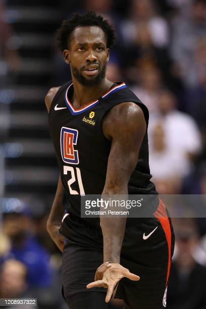 Patrick Beverley of the LA Clippers reacts to a three point shot against the Phoenix Suns during the second half of the NBA game at Talking Stick...