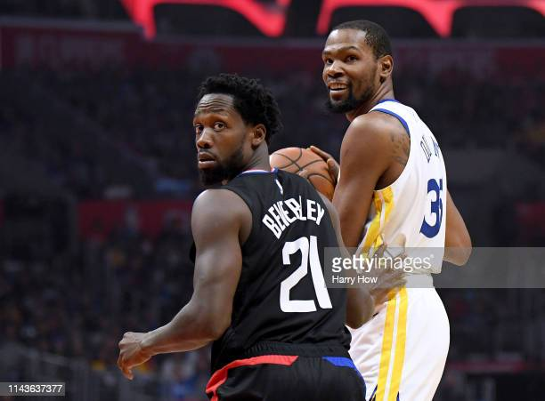Patrick Beverley of the LA Clippers reacts to his foul on Kevin Durant of the Golden State Warriors during Game Two of Round One of the 2019 NBA...