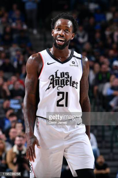 Patrick Beverley of the LA Clippers smiles during the game against the Dallas Mavericks on January 21, 2020 at the American Airlines Center in...
