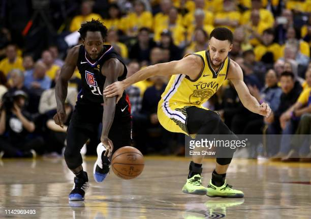 Patrick Beverley of the LA Clippers steals the ball from Stephen Curry of the Golden State Warriors during Game Two of the first round of the 2019...