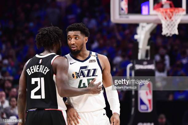 Patrick Beverley of the LA Clippers talks to Donovan Mitchell of the Utah Jazz during the game during Round 2, Game 6 of the 2021 NBA Playoffs on...
