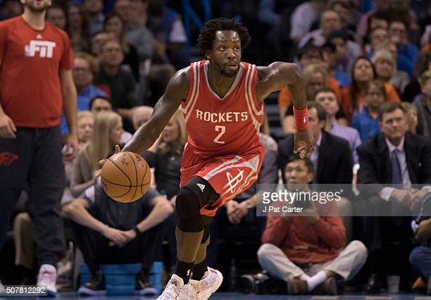 Patrick Beverley of the Houston Rockets brings the ball up court against the Oklahoma City Thunder during a NBA game at the Chesapeake Energy Arena...