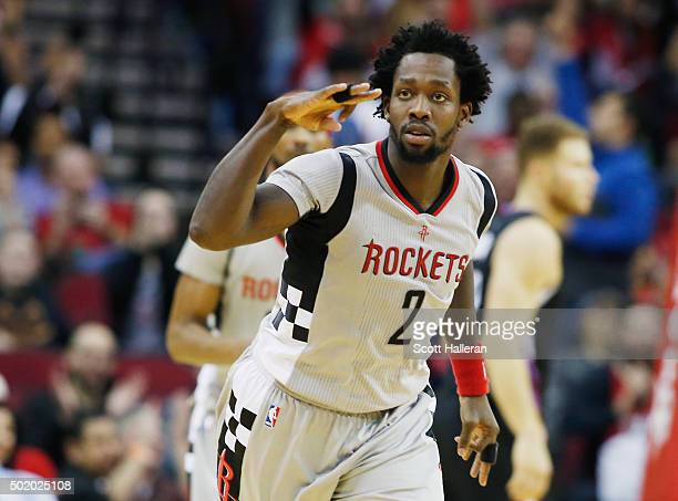 Patrick Beverley of the Houston Rockets celebrates a threepoint shot during their game against the Los Angeles Clippers at Toyota Center on December...