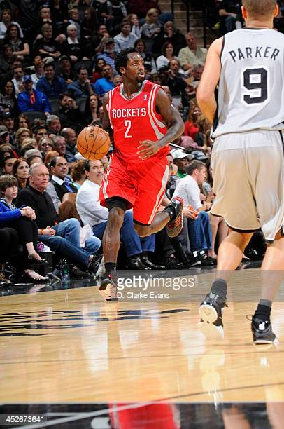 Patrick Beverley of the Houston Rockets drives against the San Antonio Spurs at the ATT Center on November 30 2013 in San Antonio Texas NOTE TO USER...