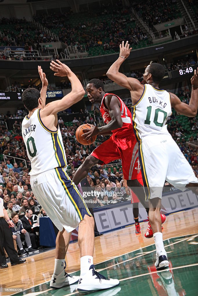 Patrick Beverley #12 of the Houston Rockets drives to the basket against the Utah Jazz at Energy Solutions Arena on January 28, 2013 in Salt Lake City, Utah.