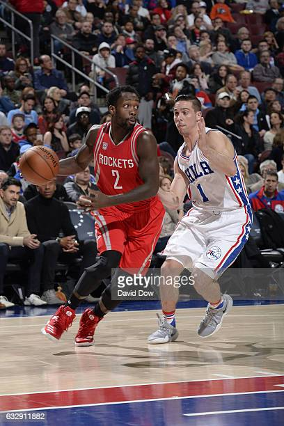 Patrick Beverley of the Houston Rockets drives to the basket against the Philadelphia 76ers at Wells Fargo Center on January 27, 2017 in...