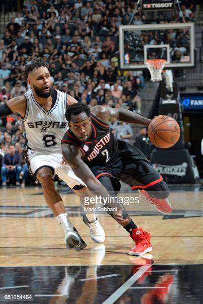 Patrick Beverley of the Houston Rockets handles the ball against the San Antonio Spurs in Game Five of the Western Conference Semifinals on May 9...