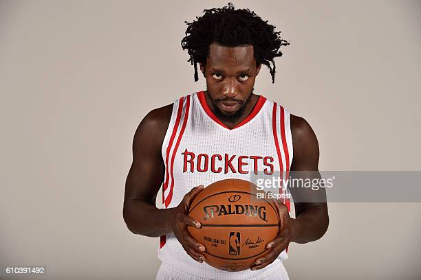 Patrick Beverley of the Houston Rockets poses for a portrait during the 2016 NBA Media Day at the Toyota Center on September 24 2016 in Houston Texas...